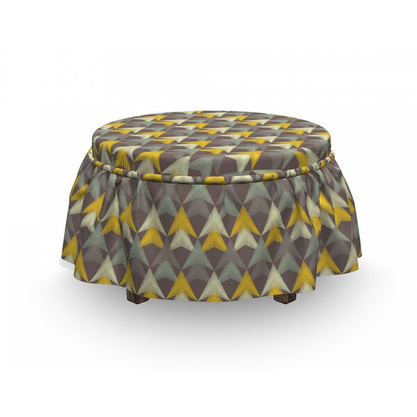 Boho Triangle Scribble Ottoman Slipcover (Set Of 2) By East Urban Home