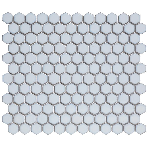 Barcelona 1'' x 1'' Porcelain Mosaic Tile in Glossy Soft Blue by The Mosaic Factory