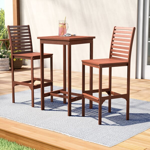 Eulalie 3 Piece Bar Height Dining Set by Sol 72 Outdoor