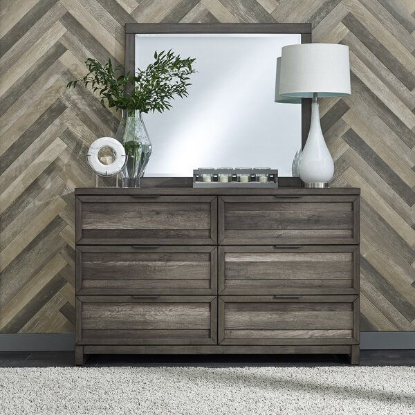 Benitez 6 Drawer Double Dresser with Mirror by Union Rustic