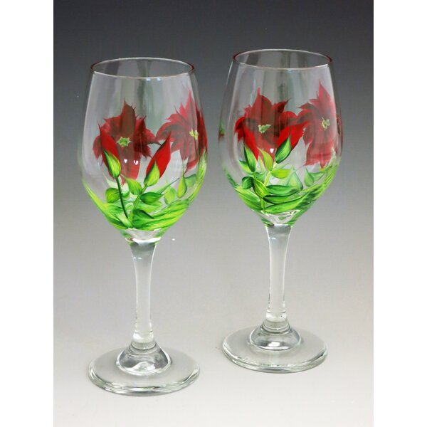 Poinsettia Hand Painted Glass (Set of 2) by Christina's HAND PAINTED