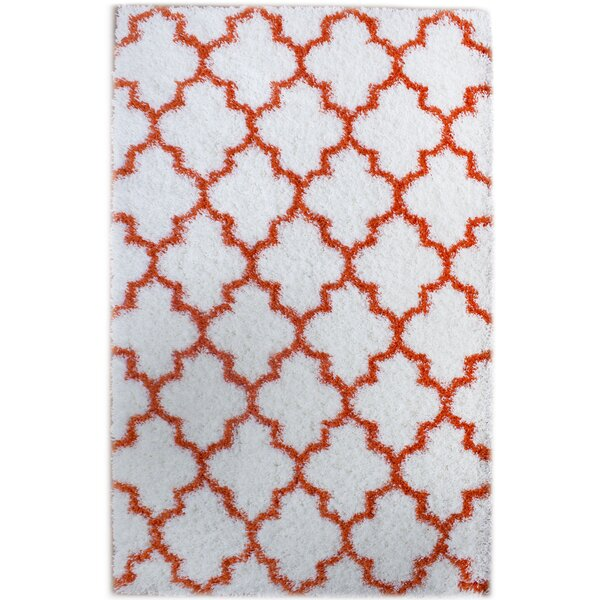 Little White/Orange Area Rug by Rosdorf Park