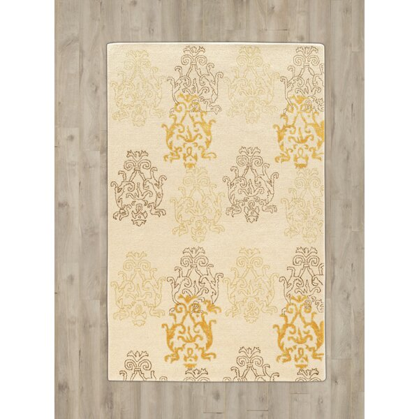 Lamoille Damask Hand-Tufted Beige/Gold Area Rug by Charlton Home
