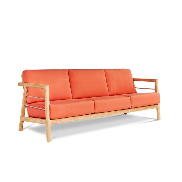 Armrong Teak Patio Sofa with Sunbrella Cushions by Bayou Breeze