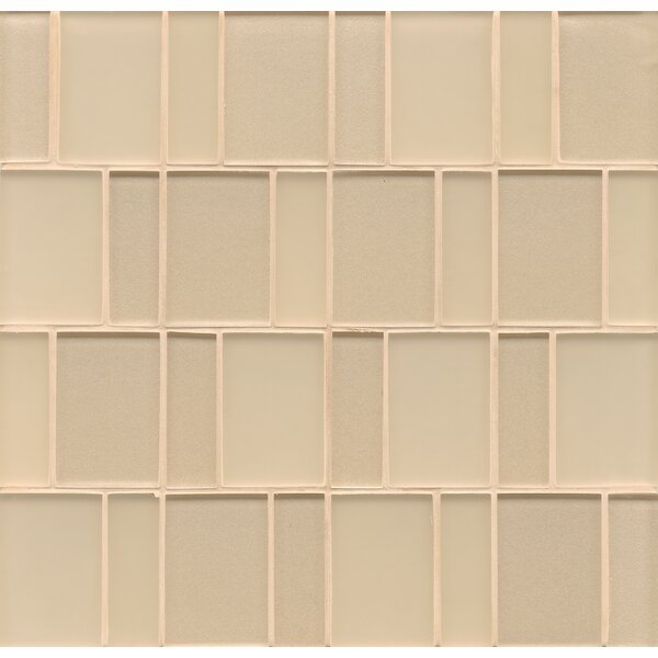 Remy Glass Mosaic Brick Tile in Blonde by Grayson Martin