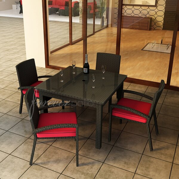 Barbados 5 Piece Dining Set with Sunbrella Cushions by Forever Patio
