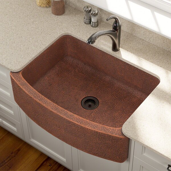 Copper 33 L x 25 W Farmhouse/Apron Kitchen Sink by MR Direct