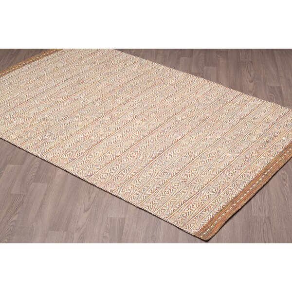 Backwoods Reversible Hand Woven Wool Ivory/Brown Area Rug by Foundry Select