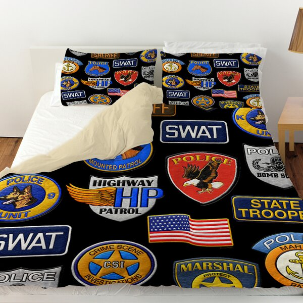 Police Patches Duvet Cover by Manual Woodworkers & Weavers