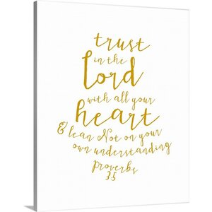 'Proverbs 3:5 - Scripture Art' Textual Art on Wrapped Canvas by Great Big Canvas