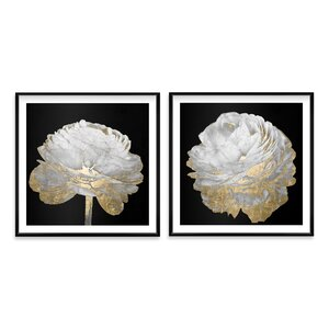 'Gold and Light Floral' 2 Piece Framed Graphic Art Print Set by House of Hampton