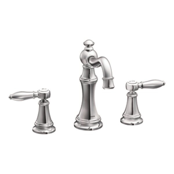 Weymouth Widespread High Arc Bathroom Faucet with Optional Drain by Moen