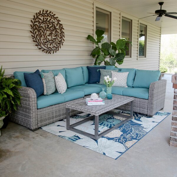 Gallagher Coast 5 Piece Rattan Sectional Seating Group with Cushions by Rosecliff Heights