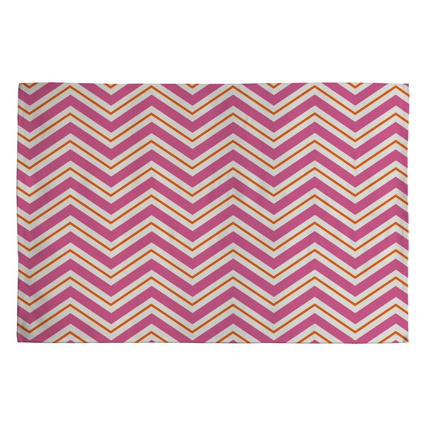 Berry Pop Pink/Ivory Chevron Area Rug by East Urban Home