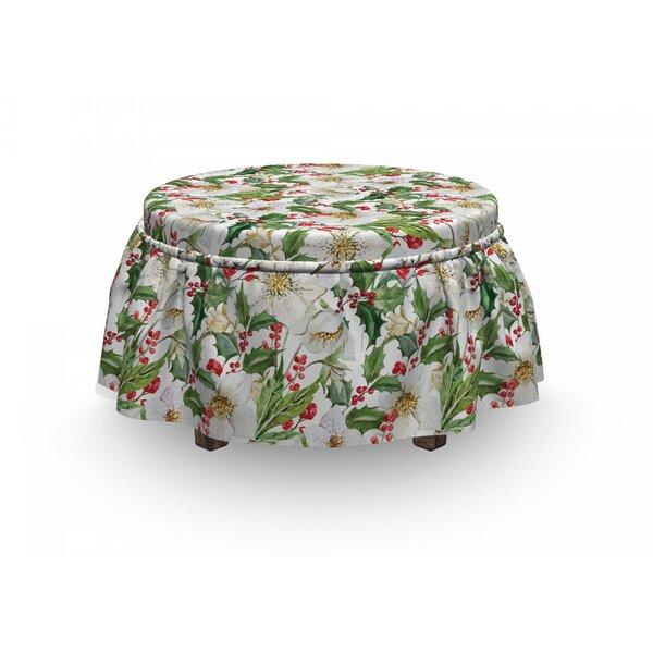 Poinsettia 2 Piece Box Cushion Ottoman Slipcover Set By East Urban Home