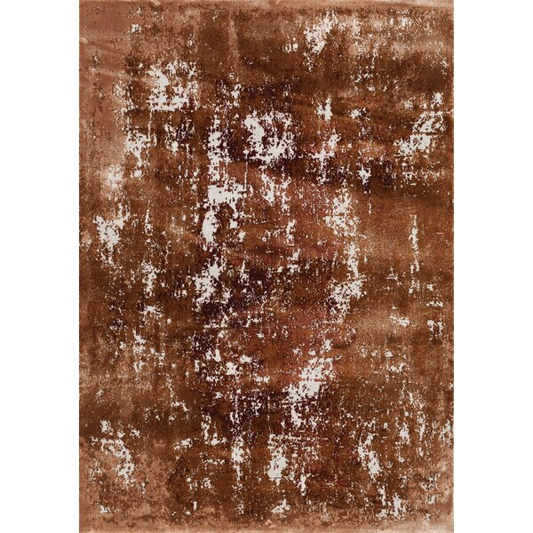 Finnick Distressed Abstract Orange/Cream Area Rug by Wrought Studio