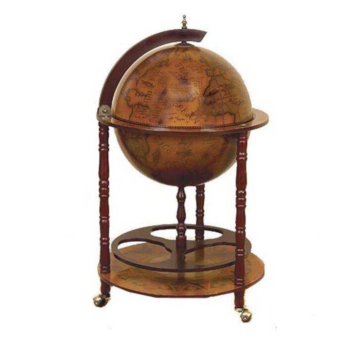 Stricker Antique Reproduction Sixth Century Italian Old World Globe Mini Bar