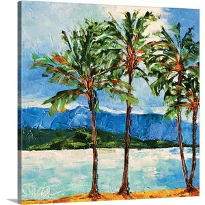 'Reflecting Hawaiian Palms' by Leslie Saeta Painting Print on Wrapped Canvas by Great Big Canvas