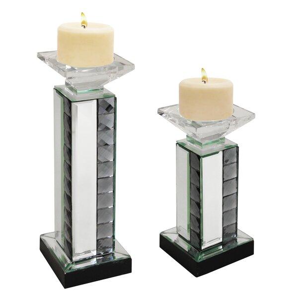 Urban Designs 2 Piece Crystal Mirror Glass Candlestick Set by EC World Imports