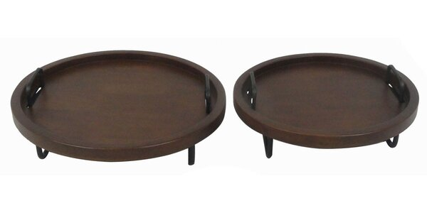 2 Piece Brown Wood Serving Tray Set by Donny Osmond Home