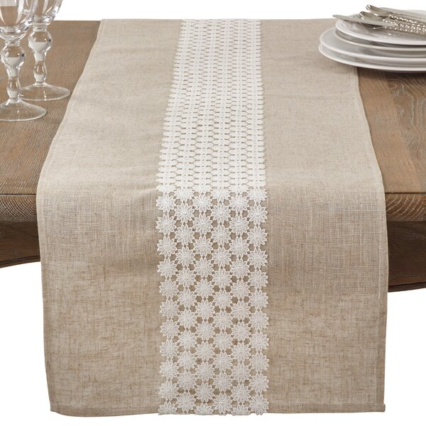 Arvin Lace Country Cottage Linen Blend Table Runner by One Allium Way
