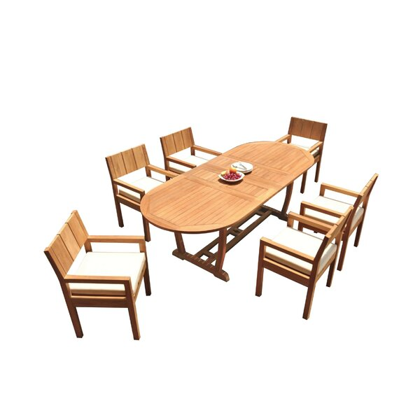 Draven 7 Piece Teak Dining Set by Rosecliff Heights