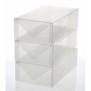 Shop for Women's Size Plastic Foldable 3 Pair Shoe Storage Box Set By Rebrilliant