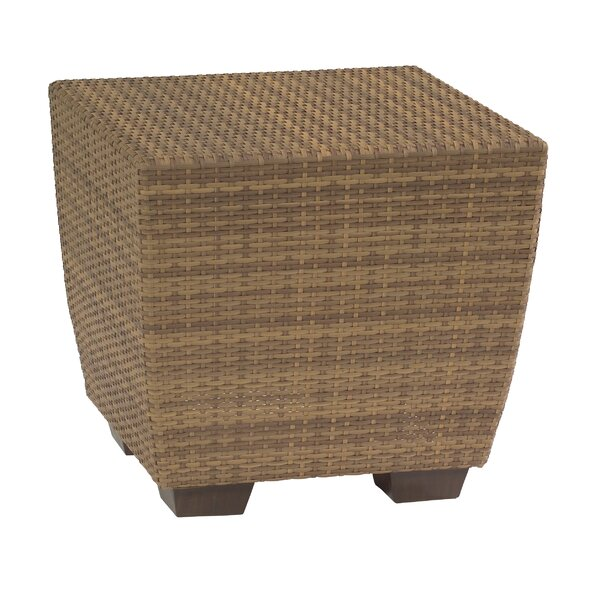 Saddleback Wicker Side Table by Woodard