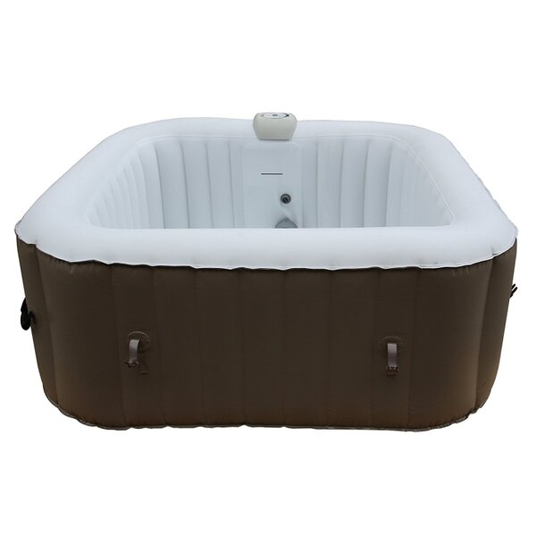 Square Portable Hot Tub 4-Person 130-Jet Inflatable Plug and Play Spa by ALEKO