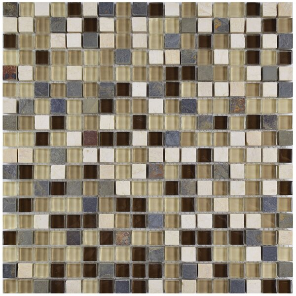 Sierra 0.58 x 0.58 Glass and Natural Stone Mosaic Tile in Brown/Gray by EliteTile