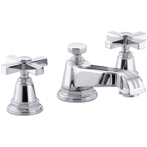 Pinstripe Widespread Bathroom Sink Faucet with Cross Handles by Kohler