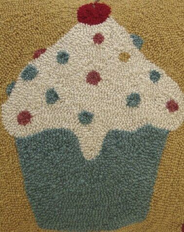 Cupcakes Hand-Hooked Wool Blue/Beige/Gold Area Rug by Susan Branch Home