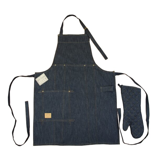 Vintage Draper Denim Bib Apron and Oven Mitt Set b