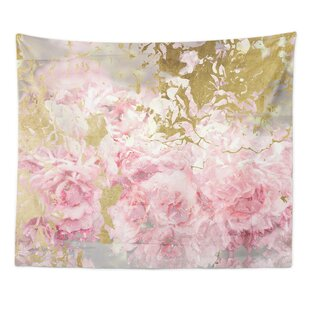 Pink And Gold Camellias Wall Tapestry
