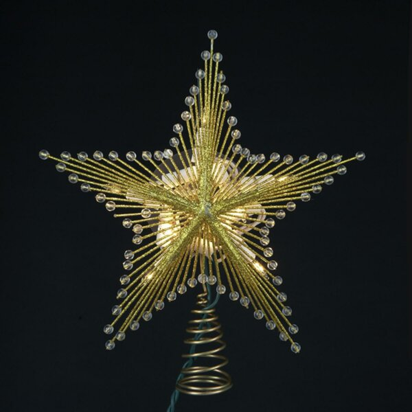 9.5 Lighted Glittered and Beaded Star Christmas Tree Topper by The Holiday Aisle
