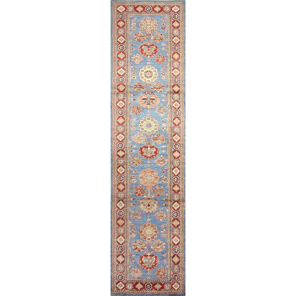 One-of-a-Kind Harrod Hand-Knotted Wool Orange/Light Blue Area Rug by Bloomsbury Market