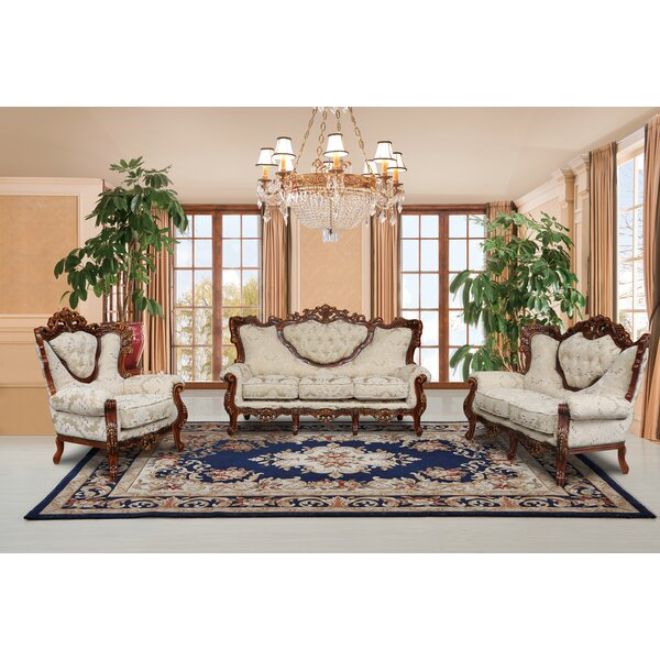 Waleska 3 Piece Gold And White Embossed Fabric Standard Living Room Set By Astoria Grand