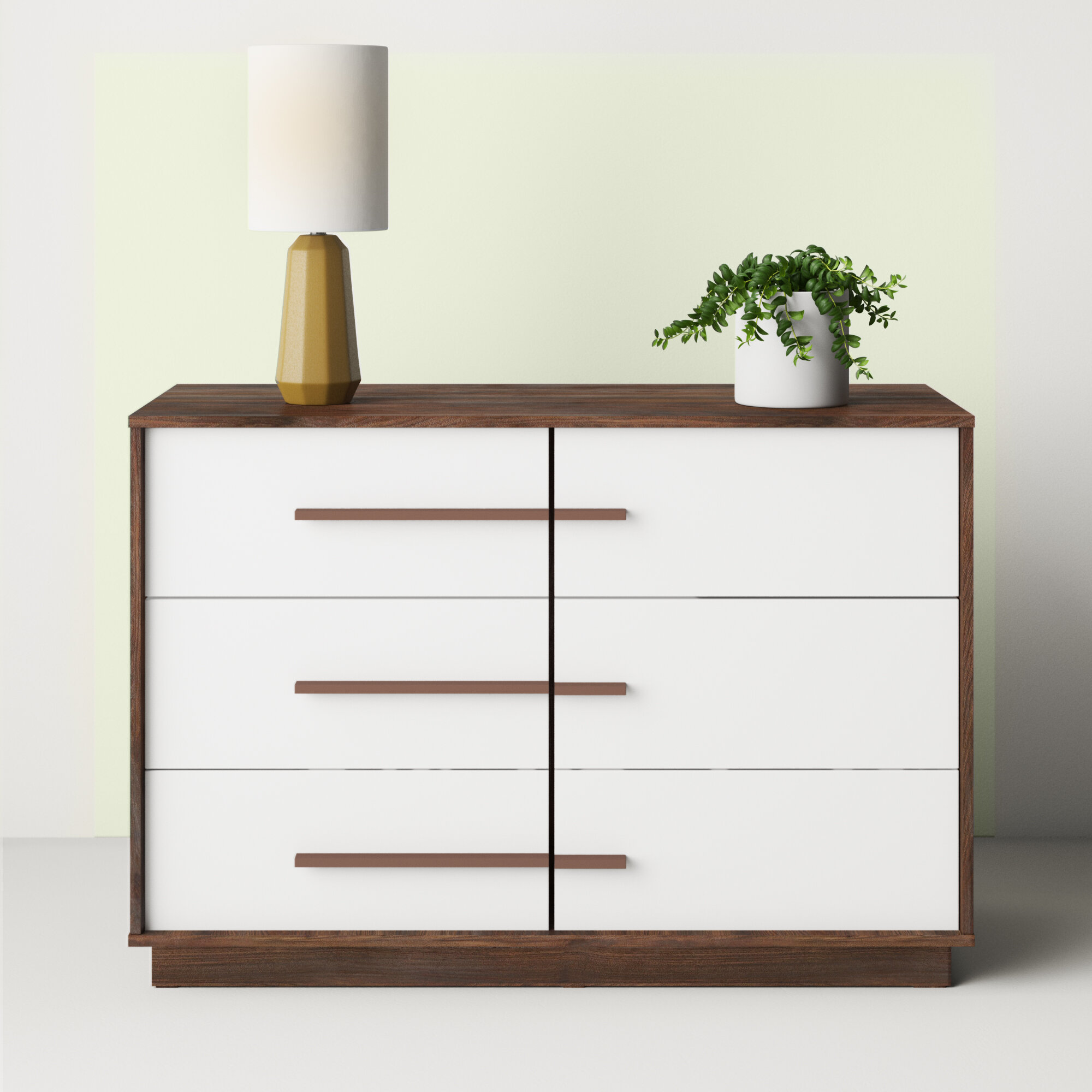 Hashtag Home Crandon Mid Century Modern Two Tone Wood 6 Drawer Dresser Reviews Wayfair