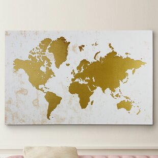 World map wall art champaign gold map graphic art on wrapped canvas gumiabroncs Images