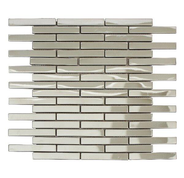 Ariya 12 x 12 Metal Mosaic Tile in Shiny Silver by Mirrella