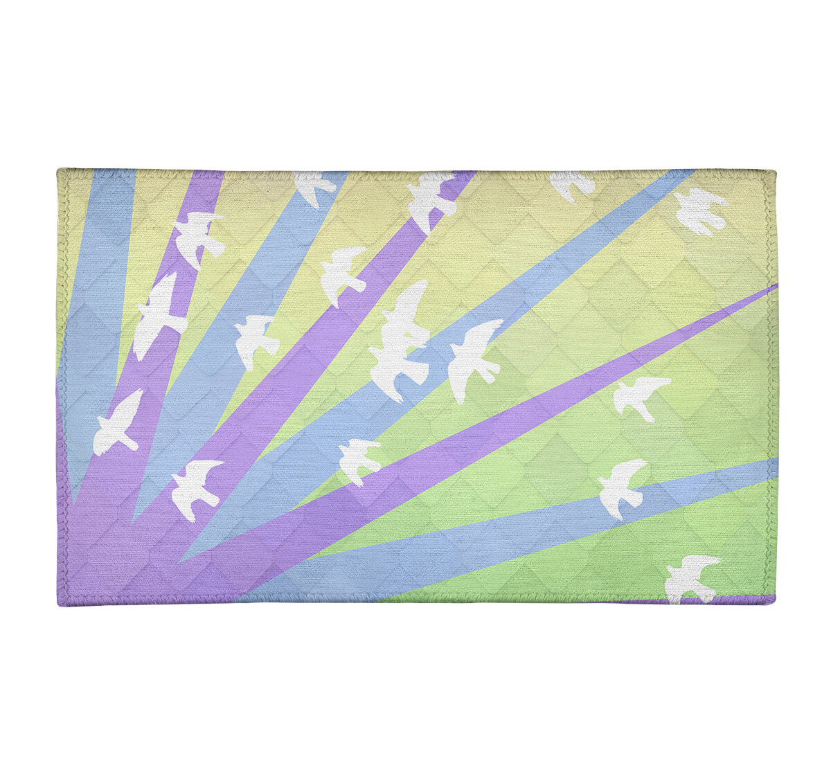 East Urban Home Birds And Sunset Chenille Green Purple Blue Area Rug Wayfair