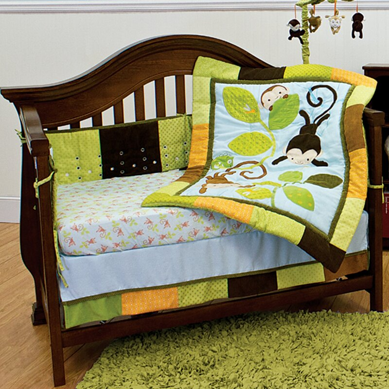 Swinging Monkeys 4 Piece Crib Bedding Set
