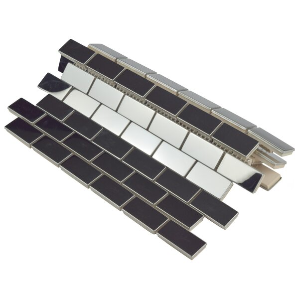 Vulcan 11.75 x 11.75 Ceramic Mosaic Tile in Polished Stainless Steel by EliteTile