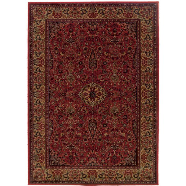 Amsbry Red/Gold Area Rug by World Menagerie