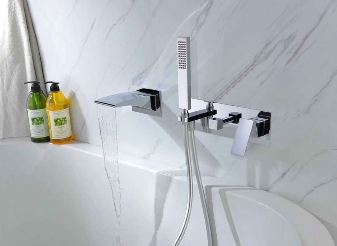 Sumerain Double Handle Wall Mounted Waterfall Faucet & Reviews | Wayfair