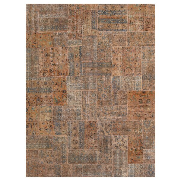 One-of-a-Kind Constanza Patchwork Hand-Knotted Wool Tan/Beige Area Rug by Isabelline