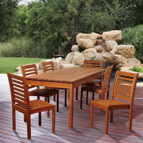 Bridgepointe Traditional Eucalyptus 7 Piece Dining Set by Rosecliff Heights