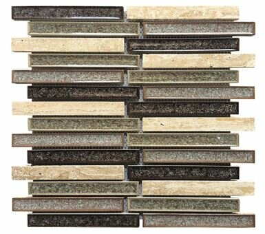 0.75 x 6 Ceramic and Stone Linear Blend Mosaic Tile in Tan and Gray by Intrend Tile