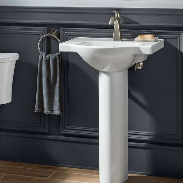 Veer Ceramic 24 Pedestal Bathroom Sink with Overfl