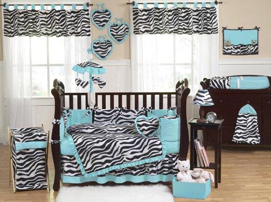 Zebra 9 Piece Crib Bedding Set By Sweet Jojo Designs.